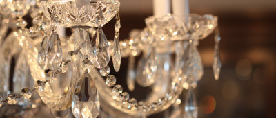 Love sparkles in crystal chandelier
