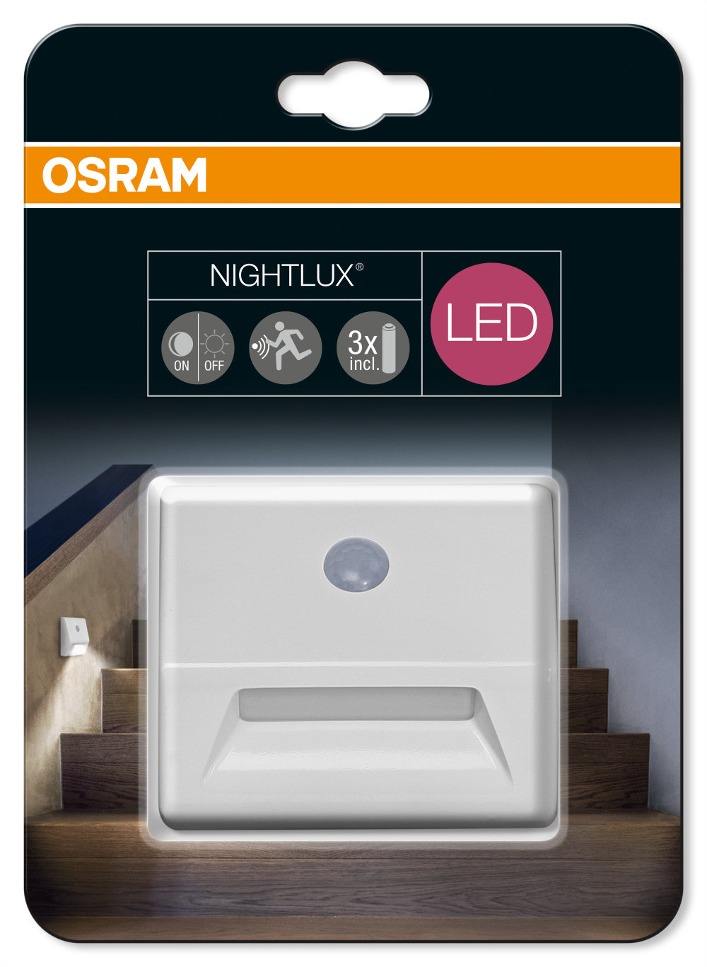 battery powered multifunctional luminaires with sensor osram lamps. Black Bedroom Furniture Sets. Home Design Ideas
